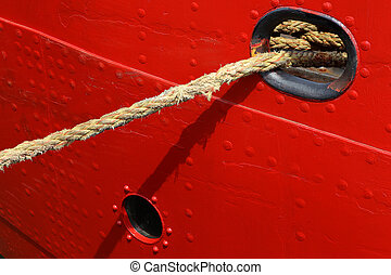 nylon rope ties a ship to the quayside