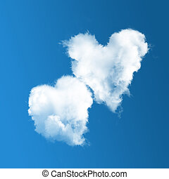 Two heart-shaped clouds on blue sky