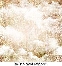 An abstract vintage texture background with clouds. Page to...