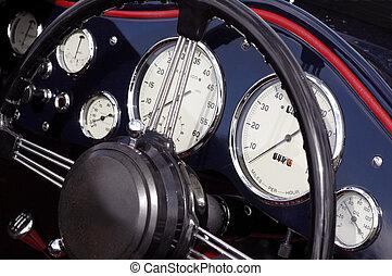 vintage dashboard - vintage automobile dashboard close-up