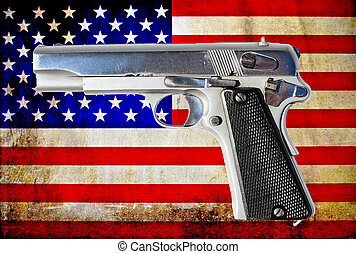 Gun and USA flag