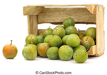 """fresh """"Reine Claude"""" plums in a wooden crate on a white..."""