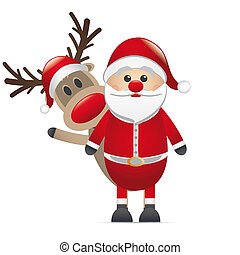 reindeer red nose behind santa claus - rudolph reindeer red...