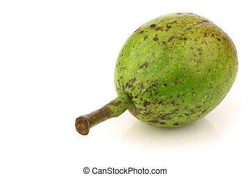 fresh walnuts (Juglans regia) - one fresh walnut (Juglans...