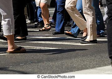 People crossing a street - People crowd crossing the street...