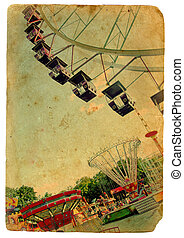 Amusement park, a Ferris wheel. Old postcard - Retro styling