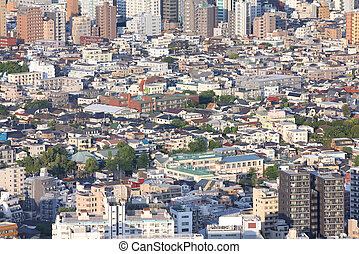 Tokyo, Japan - aerial view of Toshima district Modern city