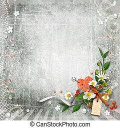 Grey textured background vintage with flowers. Page to...