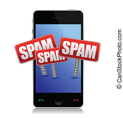 Modern phone with spam signs illustration design