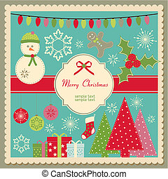 Cute Christmas card - Vector Christmas card with space for...