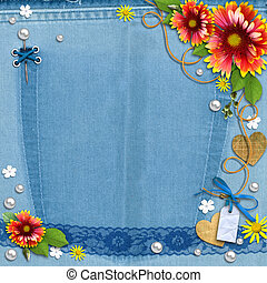 Blue denim background with flowers, lace and pearls. The...