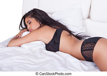 Beautiful woman in black lingerie