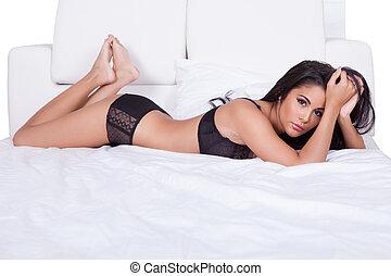 Beautiful woman in black lingerie - Beautiful sexy woman in...