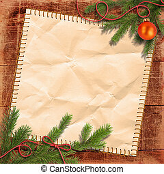 Christmas tree and Grunge paper