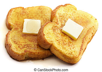 french toast with butter - french toast with piece of...