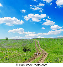 winding road in green grass and cloudy sky