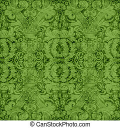 Vintage Green Tapestry - Worn green tapestry pattern