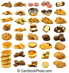 buns,cookies,cakes and bread - collection of freshly baked...
