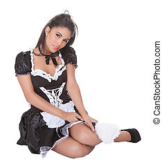 Sexy brunette in maids uniform - Sexy brunette in a cute...
