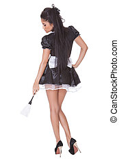 Sensual woman in skimpy maids uniform - Beautiful sensual...