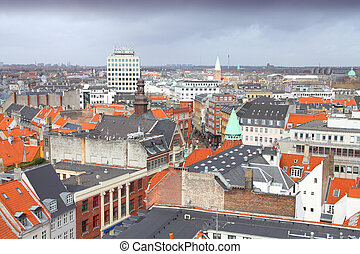 Copenhagen city - Copenhagen, Denmark - aerial view of the...