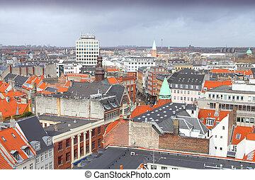 Copenhagen city - Copenhagen, Denmark - aerial view of the...