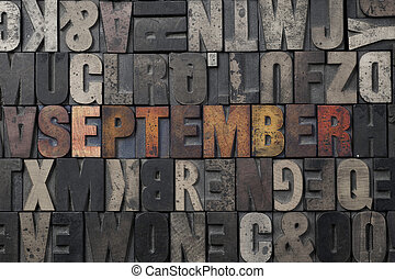 September - The word September written in antique...