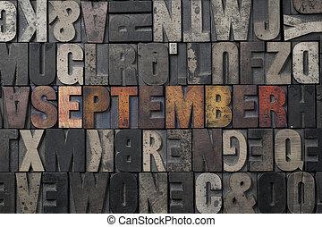 September - The word September written in antique...