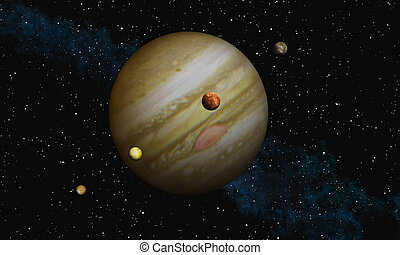Jupiter - This image shows Jupiter with her biggest moons