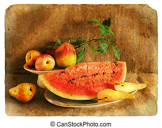 Old postcard. Still Life with Fruit - Still Life with Fruit...
