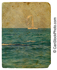Sailing yacht in ocean. Old postcard, design in grunge and...