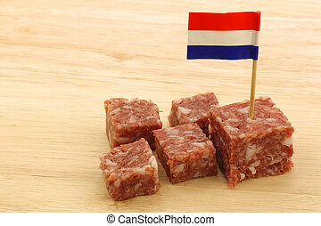 """sausage called """"boerenmetworst"""" - pieces of traditional..."""