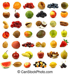 colorful fruits and nuts - collection of fresh and colorful...