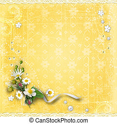 Yellow textured background with flowers - Yellow textured...