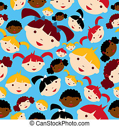 Diversity children faces pattern - Diversity children faces...