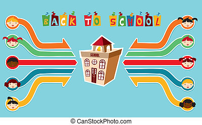 Back to School children network - Back to School classmates...