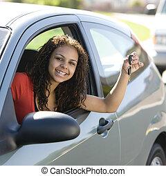 adolescente, motorista, teclas