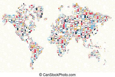 Gadgets icons world map illustration - Computer, mobile...