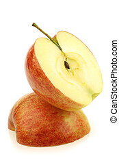 two jonagold apple halves on a white background