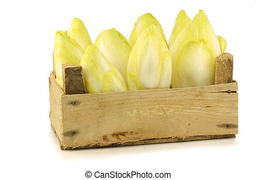 fresh chicory in a wooden crate on a white background