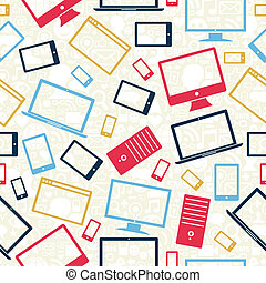 Computer, mobile and tablet icons seamless pattern -...