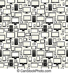 Mobile, computer and tablet icons seamless pattern - Black...