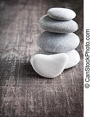 à, pila, quattro, zen, pietre
