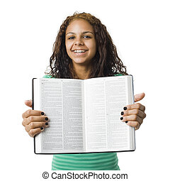 Girl holds bible