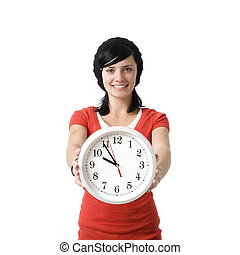 Smiling girl with clock