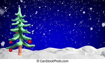 clay animation christmas tree loop - clay animation...