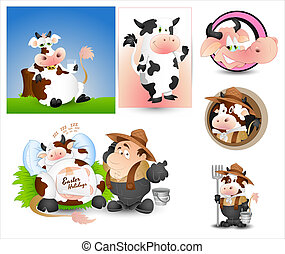 Cow Milk and Milkman Vectors - Creative Abstract Conceptual...
