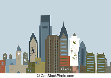 Cartoon Philadelphia - Cartoon skyline of the city of...