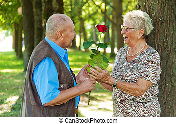 mature senior couple is in love.