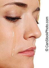 sad woman weeps tears - a sad woman weeps tears. photo icon...